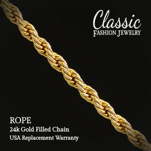 """ROPE Chain Yellow Gold Filled 18"""" 24k not 14k USA"""